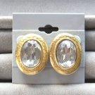 Vintage Large Rhinestone Earrings By Designer Tat