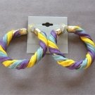 Vintage Large Cloth Fabric Hoops Earrings Yellow Blue Purple 1970's