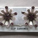 Vintage Purple Stone Funky Retro Flower Earrings 1950's
