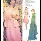 Vogue Americana Teal Traina Designer Sewing Pattern #1185 Misses Dress & Jacket Size 14 1/2 Vintage