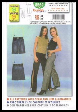 Young Fashion Burda Sewing Pattern #8562 Pants & Skirt Sizes 8 to 22