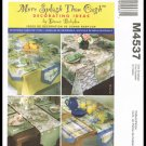 McCall's Sewing Pattern No. M4537 Decorating Ideas Tablecloths Runners Placemats Napkins