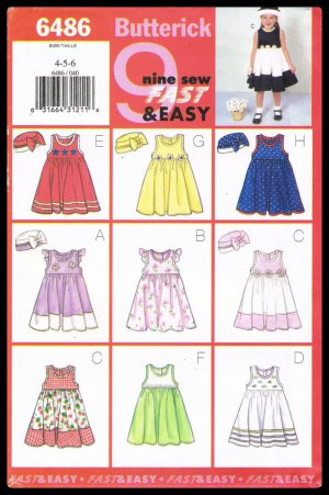 Butterick Sewing Pattern No 6486 Nine Sew Fast And Easy Children