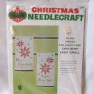Vintage Bucilla Christmas Needlecraft Kit Linen Guest Towels Merry Christmas Happy New Year