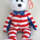 Liberty White Face USA American Bear Ty Beanie Baby Retired 2002