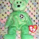 Kicks The Green Soccer Bear Ty Beanie Baby Retired 1999