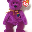 Millennium Bear Ty Beanie Baby Fushia Color Retired 1999