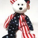 Spangle Bear Ty Beanie Baby USA American White Face Retired 1999