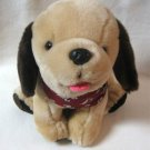 Plush Puppy Dog Beige And Brown Wearing Dalmatian Bandana Stuffed Animal Toy