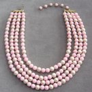 Pink Beaded 4 Strand Necklace Vintage 1950's