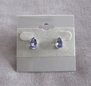 Iolite Gemstone Stud Earrings Pear Shaped Sterling Silver 925