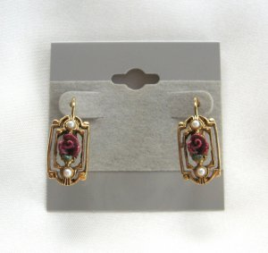 Fancy Red Rose And Pearls Leverback Pierced Earrings