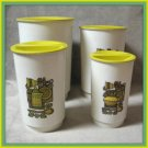 Vintage 8 Pc. Canister Set Retro Yellow Green Brown White
