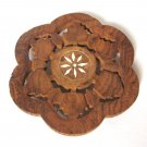 Hand Carved Flower Shaped Wooden Trivet White Shell Inlay Vintage Retro