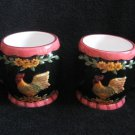 Set Of Rooster Cups Steins Ceramic Black Raised Design