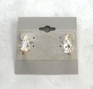 Large Pear Cut Crystal Leverback Pierced Earrings