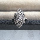 Ladies Fancy Sparkly Marcasite Ring Vintage Sterling 925 TH Size 6