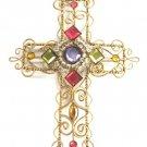 Fancy Jeweled Puffed Cross Wall Decor Ornament Religious Handmade