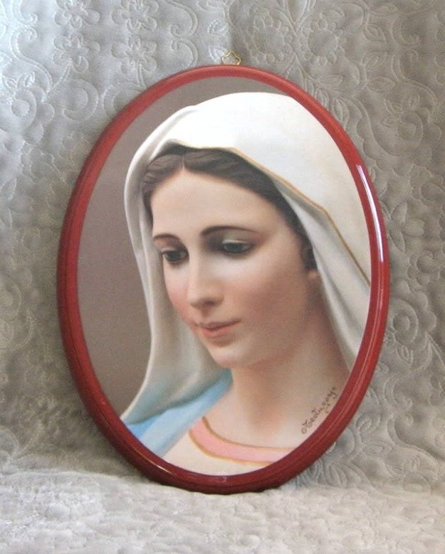 Virgin Mother Mary Our Lady Of Medugorje Wall Decor Handmade 12x9 Medjugorje Religious
