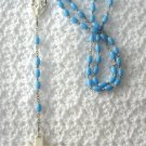 Vintage Blue And White Handmade Beaded Rosary Crucifix