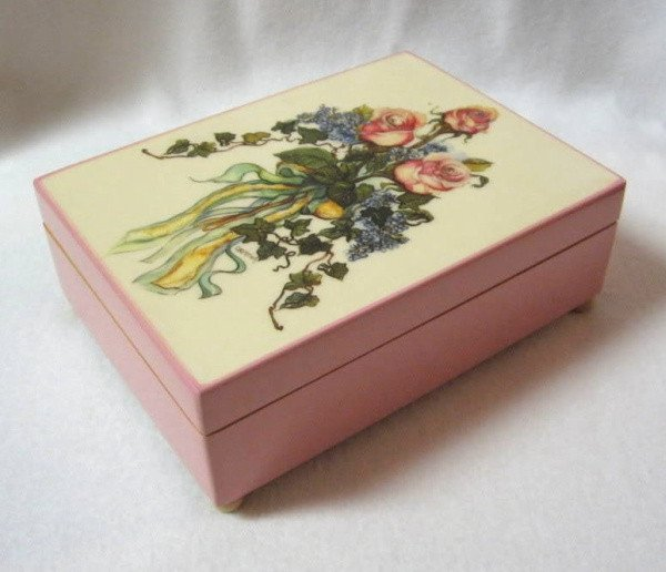 Vintage Musical Jewelry Box Plays Memory Made In Japan