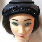 Ladies Vintage Blue Velvet Pill Box Rhinestone Hat 1950's