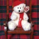 Ty Attic Treasure Peppermint White Holiday Bear Plush Retired