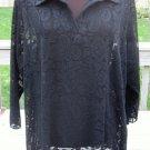 Ladies Fancy Black Flower Lace Top Shirt Blouse Size 2X