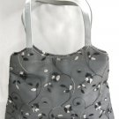 Vintage Handbag Purse Black Gray Embroidered Flowers Retro