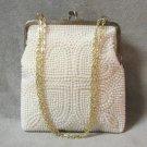 Beaded Purse Handbag Vintage 1950's Cream Color Handmade In Hong Kong