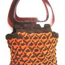 Retro Brown & Orange Handmade Knitted Handbag Purse Large Amber Lucite Handles Vintage