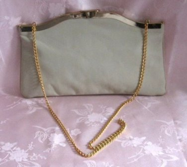 Unique Vintage Beige Leather Open Hinged Purse Handbag Ideal