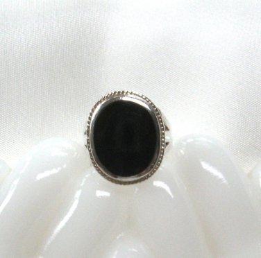 Black Onyx Sterling Silver Ring Vintage 925 Size 5/6
