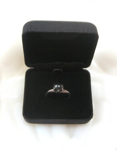 Ladies Sterling Silver Solitaire Hematite Ring Vintage Size 8