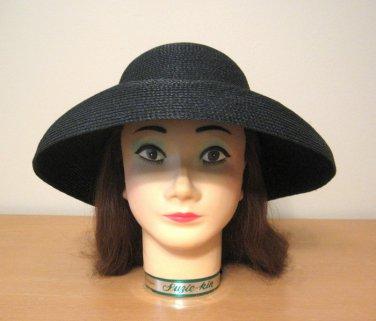 Vintage Ladies Black Designer Hat Street Smart Betmar Size 22