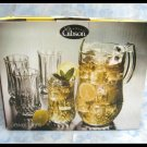 Gibson Glassware 5 Piece Set Water Pitcher & Tumblers Jewel Light