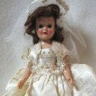 1930's Antique Doll Wearing Fancy Wedding Dress with Veil