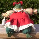 Cute Sit Up Girl Frog Doll With Dress & Matching Hair Bow