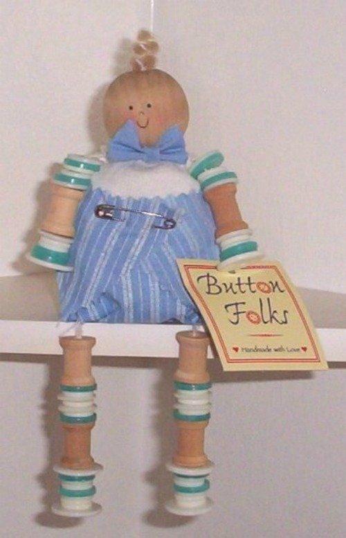 Ganz Button Folks Baby Boy Doll 1997