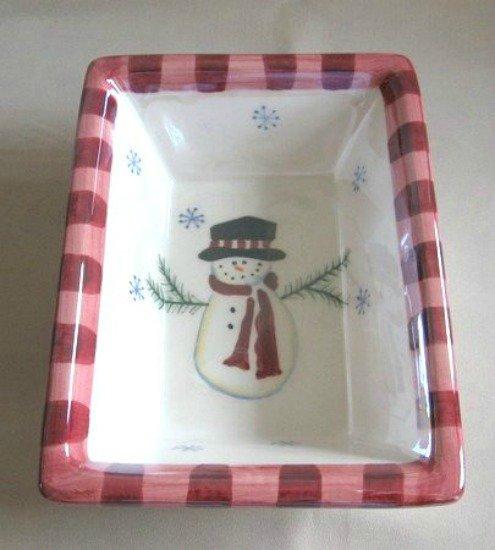 Holiday Ceramic Snowman Iridescent Bowl Atico Christmas