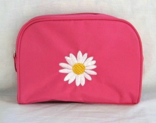 Pink Cosmetic Makeup Bag With Embroidered Daisy
