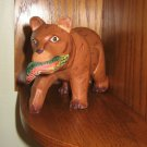 Carved Wooden Brown Bear Figure Figurine Carrying His Fish