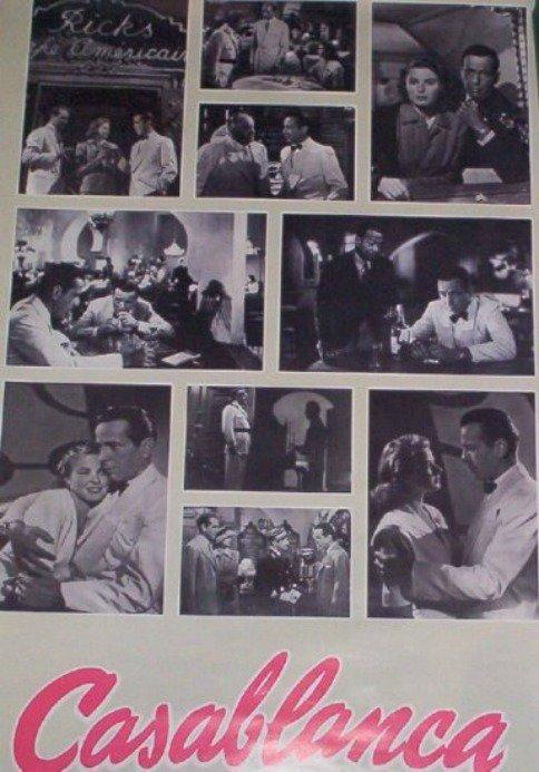 Casablanca Movie Poster Humphrey Bogart Ingrid Bergman Vintage 1988