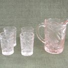 Small  Pink Set Water Pitcher With Glasses Peacocks & Flowers Vintage