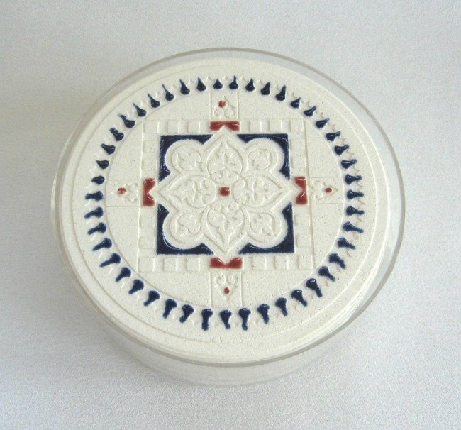 Coasters Set Of 4 Unique Quality Made Ceramic Pottery Washable Handcrafted Blue And Red