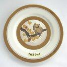 Porcelain 24KT Gold Owl Chokin Plate Precious Art Inc. Retro Japan Vintage