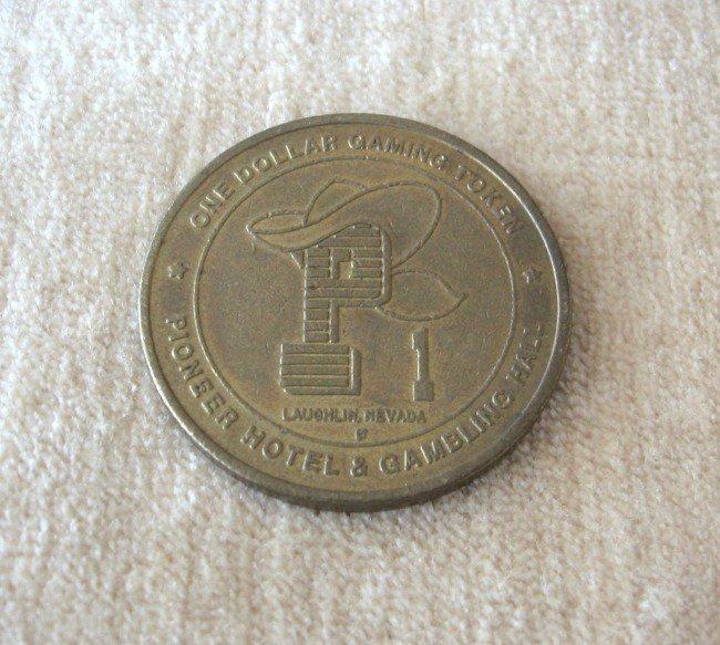 One Dollar Gaming Token Pioneer Hotel & Gambling Hall Laughlin Nevada Vintage