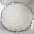 Vintage Handmade 19 Inch White Red Green Crocheted Doily