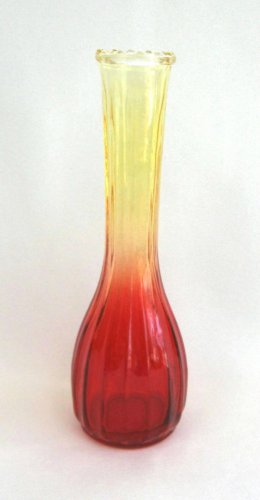 Amberina Yellow Red Glass Vase Vintage Jeannette Retro 1960s