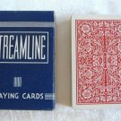 Vintage Playing Cards Streamline Red & White Arrco Linen Finish Complete Deck